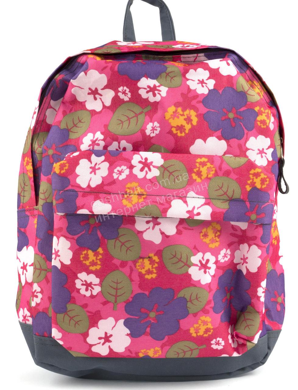 Спортивный качественный женский рюкзак с жесткой спинкой WALLABY art. 1354 цветочки