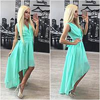 Женское шифоновое ассиметричное платье с поясом + (Большие размеры) (2 цвета) персик, С