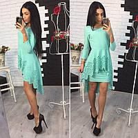 Платье перфорация цвет ментол 12303