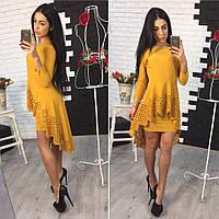 Платье перфорация цвет горчица 12305