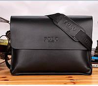 Мужская кожаная сумка Поло через плечо. Сумка Polo для документов. Чоловіча сумка планшетка | Черная
