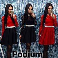 Женское стильное платье с гипюровым верхом (3 цвета) красный+черный, S