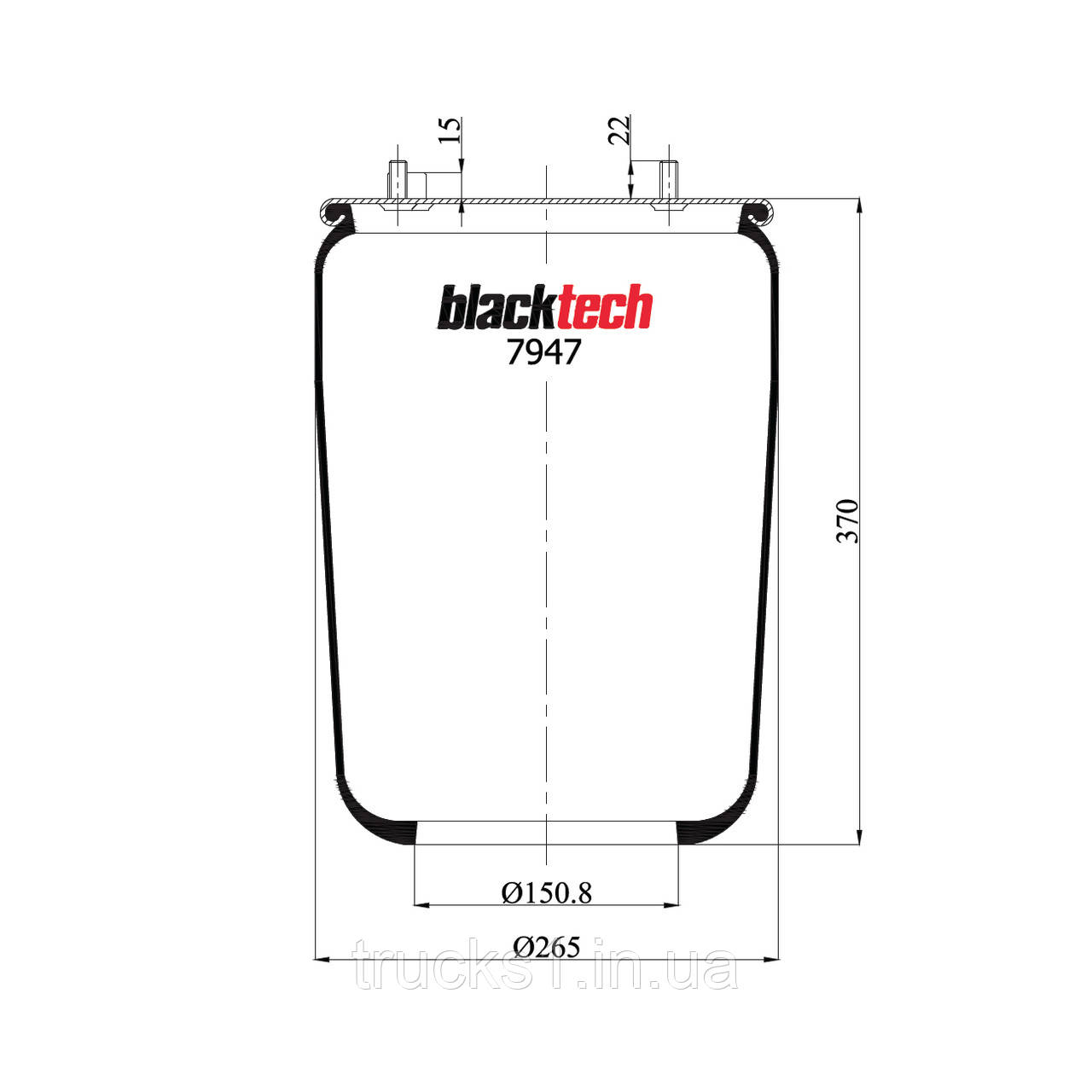 Пневмоподушка DAF без стакана RML7947-2 (BLACKTECH)