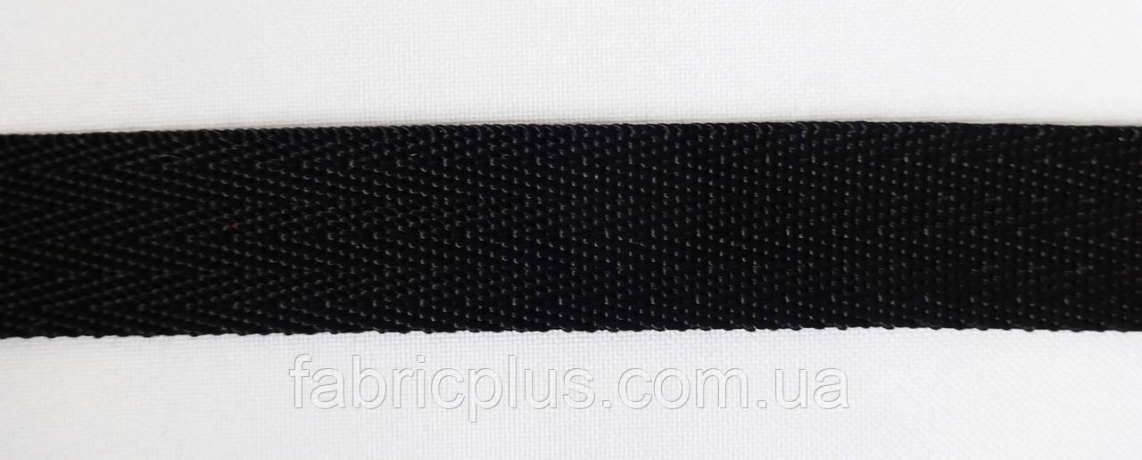 Тесьма ременная ёлка 20 мм, черная