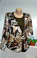 Блуза женская трикотаж в коричнево бежевой гаме большой размер, фото 1