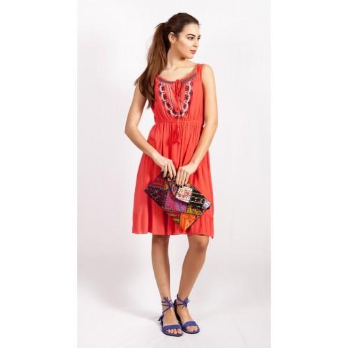 Женское летнее платье с орнаментом на груди, Индия