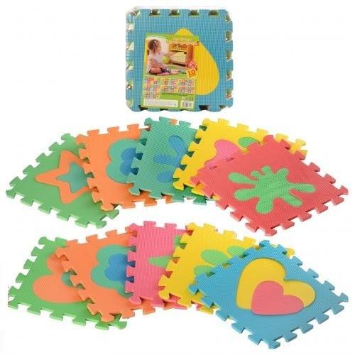 Розвиваючий дитячий ігровий килимок-пазл з різнокольоровими Фігурами M 2739 (10 елементів)