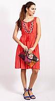 Коралловое платье с резинкой на талии