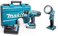 Дрель-шуруповерт ударная аккумуляторная с фонариком Makita 18в li 2 x 1,3 ач li-ion MDF457DWLE