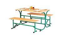 Стол обеденный с откидными лавками