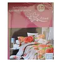 Комплект постельного белья 5D (розовые розы) полуторка