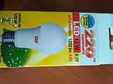 Лампа LED 12 Вт светодиодная 3000K, Е27, 12W 1200Lm А 65 шар, фото 2