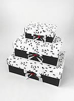 Прямоугольный подарочный комплект коробок ручной работы чёрно белого цвета с пандой