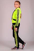 Желтый детский спортивный костюм для девочек с капюшоном брюки на резинке (манжет) Турция