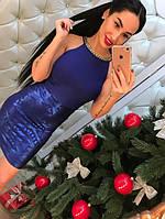 Женское стильное платье с утяжкой (2 цвета) синий, 42-44