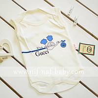 Бодик майка для новорожденного Gucci Baby голубой, Турция (3-6 месяцев, 57-62 см)