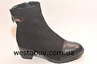 Замшевые женские ботинки заклепка