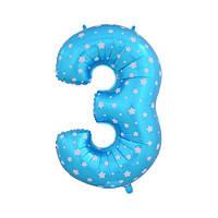 Шар фольгированная цифра 3 голубая со звездами