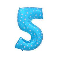 Шар фольгированная цифра 5 голубая со звездами