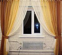 """Комплект декоративных штор из шифона """"Радуга""""  ширина каждой шторы 3м."""