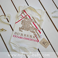 Бодик майка для новорожденного Burberry Baby красная полоска, Турция (0-3 месяцев, 50-56 см)