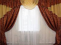 Комплект ламбрекен (№50) с шторами на карниз 2,5-3м. 050лш069