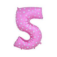 Шар фольгированная цифра 5 розовая с сердцами
