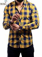 Стильная мужская рубашка в клетку горчичная оптом и в разницу