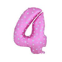 Шар фольгированная цифра 4 розовая с сердцами