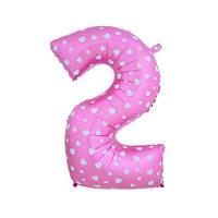 Шар фольгированная цифра 2 розовая с сердцами