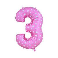 Шар фольгированная цифра 3 розовая с сердцами