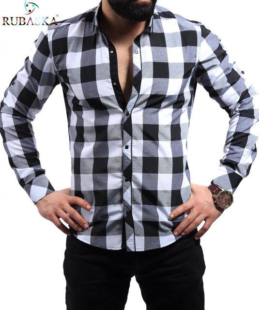 Молодежная мужская рубашка в большую клетку черная с белым