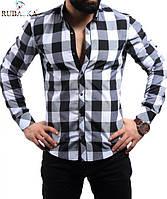 Молодежная мужская рубашка в большую клетку черная с белым, фото 1