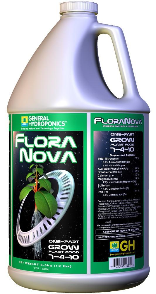 GHE FloraNova Grow 3,79L. Оригинал. Минеральное удобрение для гидропоники. Франция.