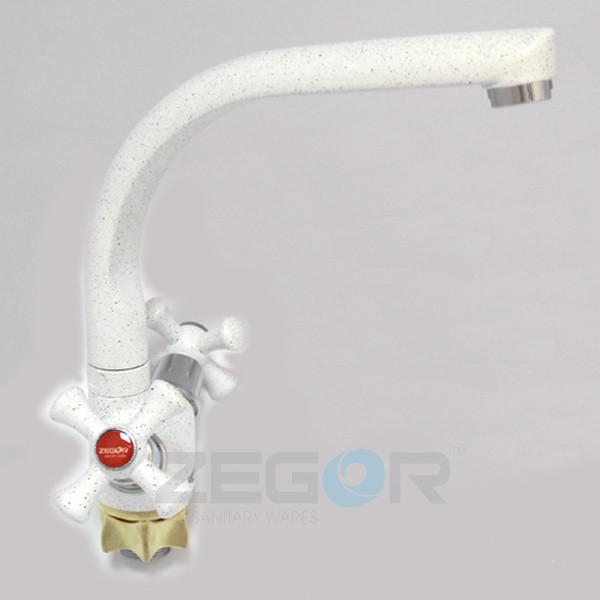 Смеситель (Латунь) ISO_Zegor Colored кухонный TLD White
