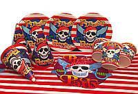 """Набор для детского дня рождения """"Пираты"""". Тарелки, стаканчики и колпачки по 10шт., скатерть 1 шт."""