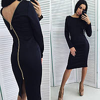 Модное женское  черное платье со змейкой на спине. Арт-2020/50