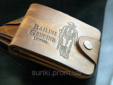 Мужской кошелек портмоне Bailini с ковбоем без вырезов Коричневый