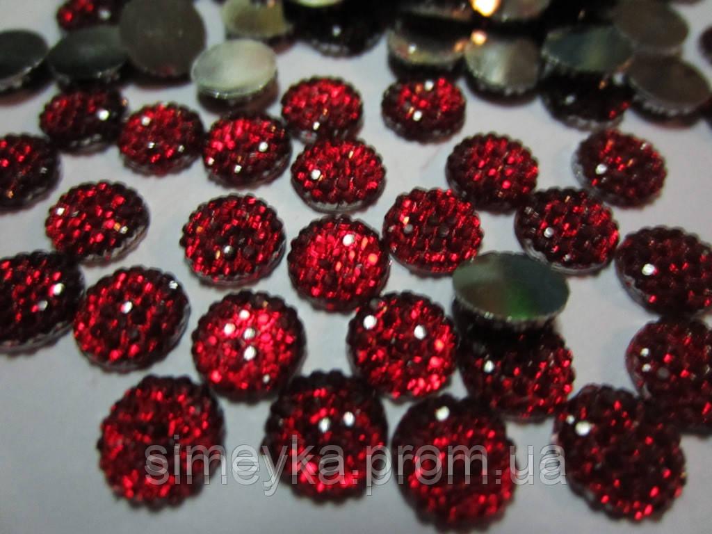 Камешек со стразами, диаметр 8 мм, упаковка 10 шт. Красный