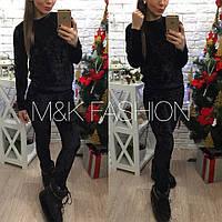 Женский модный бархатный костюм: кофта и лосины (3 цвета) черный, 42-44