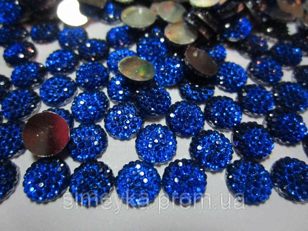 Камешек со стразами, диаметр 8 мм, упаковка 10 шт. Синий