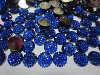 Камешек со стразами, диаметр 8 мм, упаковка 10 шт. Синий, фото 1