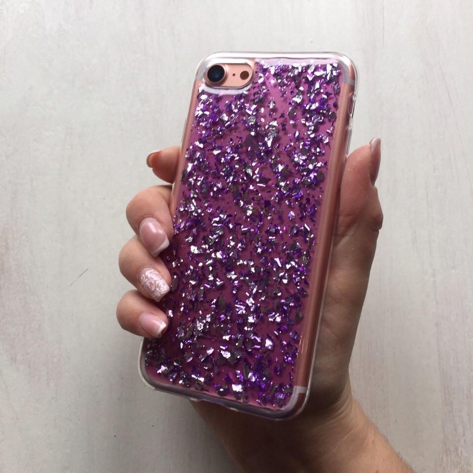 Силиконовый чехол фиолетовая фольга для iPhone 7