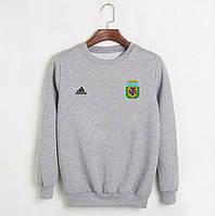 Футбольный свитшот (кофта) сборной Аргентины-Адидас, Argentina-Adidas, серый, ф4480