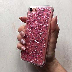 Силиконовый чехол розовая фольга для iPhone 7