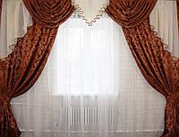 Комплект ламбрекен  со шторами на карниз 3м., цвет коричневый