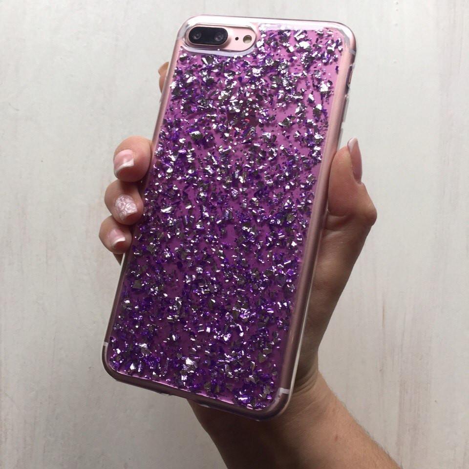 Силиконовый чехол фиолетовая фольга для iPhone 7 Plus