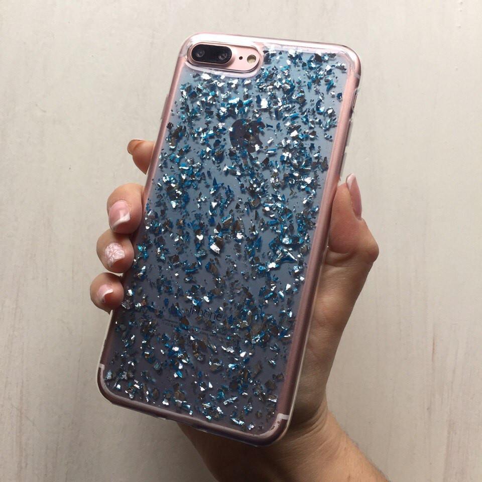 Силиконовый чехол голубая фольга для iPhone 7 Plus