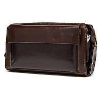 Мужской клатч с карманом для телефона из натуральной кожи, фото 1