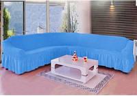 Чехол универсальный на угловой диван синий
